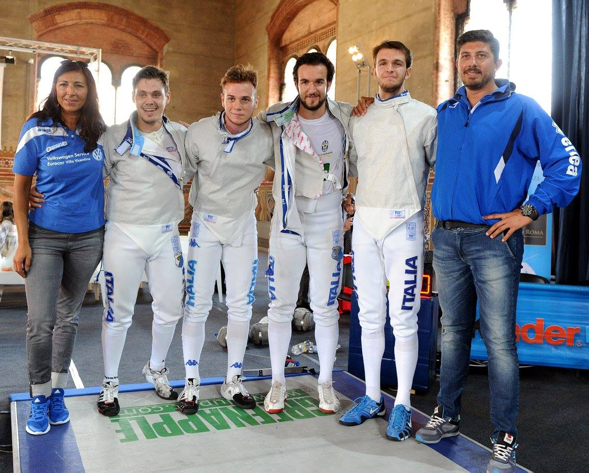 I maestri e gli atleti ( i fratelli De Robbio, Dreossi e Galasso) della Gemina Scherma