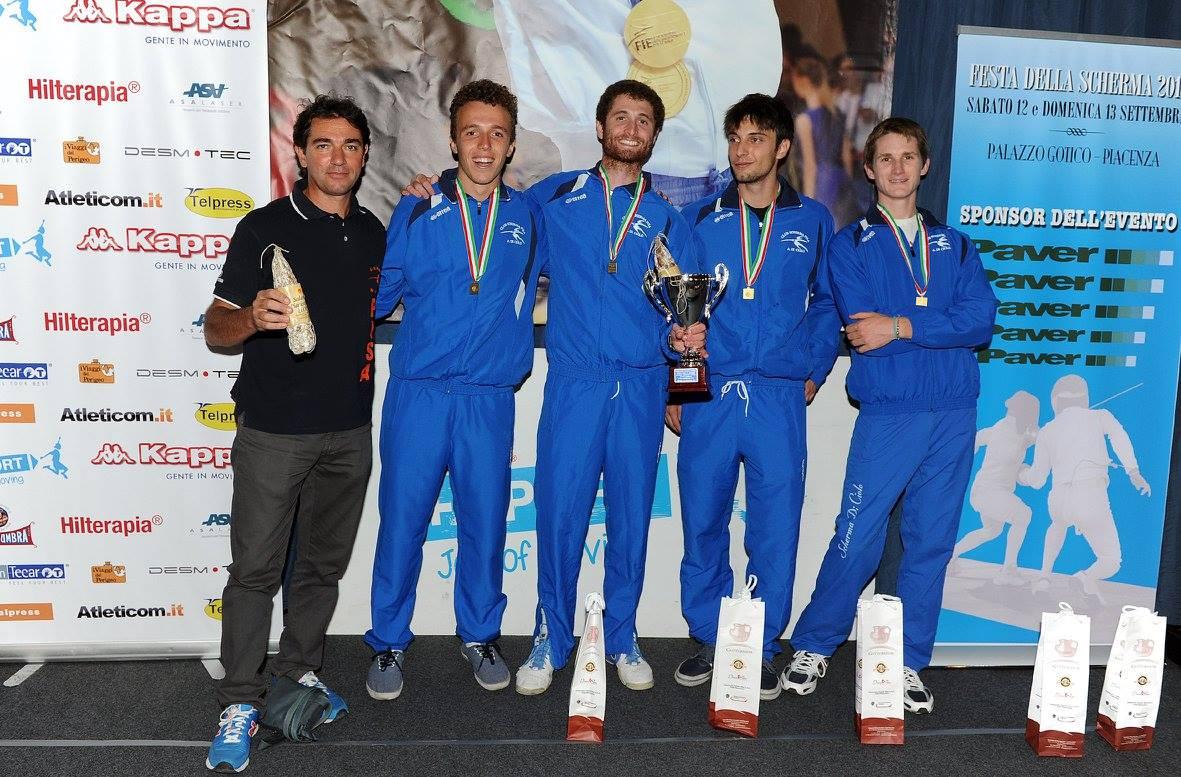 I vincitori del Club Scherma Pisa A. Di Ciolo (Martini, Marini,